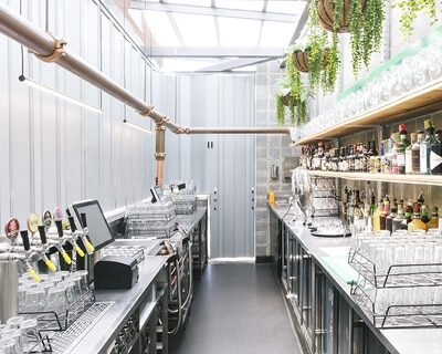 small commercial kitchen with organised shelving