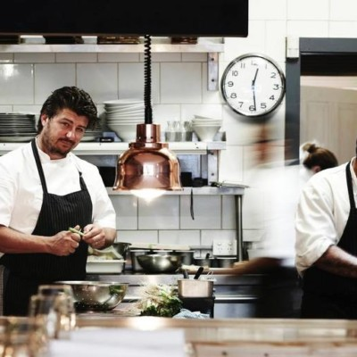 Updated commercial kitchen with chefs